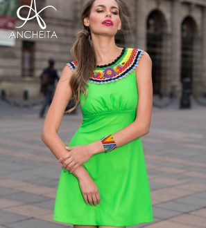 MEXICAN FASHION 2017 GREEN DRESS